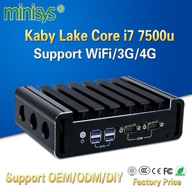 Minisys Fanless Linux Computer Intel Core i7 7500u 4k Mini PC Dual Nic Barebone Nvidia i9 Thin Client support ddr4 3G 4G Module
