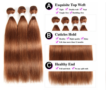 Brazilian Straight Human Hair Bundles With Closure 3PCS Brown Hair Weave Bundles With Closure Non-Remy Hair Extension