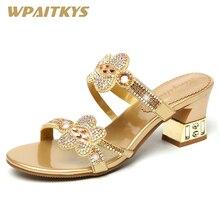 Изысканные золотисто-Фиолетовые женские босоножки со стразами на среднем каблуке модная кожаная обувь с металлическими украшениями женская свадебная обувь