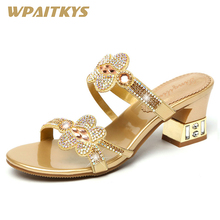 Exquisite Golden Purple Womens Rhinestone Mid-heel Sandals Crystal Metal Decoration Leather Fashion Shoes Women Wedding Party