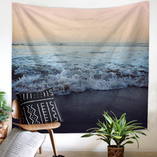 Sun Sea Tapestry Ocean Beach Wall Hanging Water Landscape Home Decoration Blue Cloud Frothy Blanket Polyester Handmade