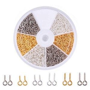 Approx 700pcs/box 10x4x1mm 8x4x1mm Iron Screw Eye Pin Bail Pinch Bails Peg Half Drilled Beads Pendants Charm Clasps Accessories(China)