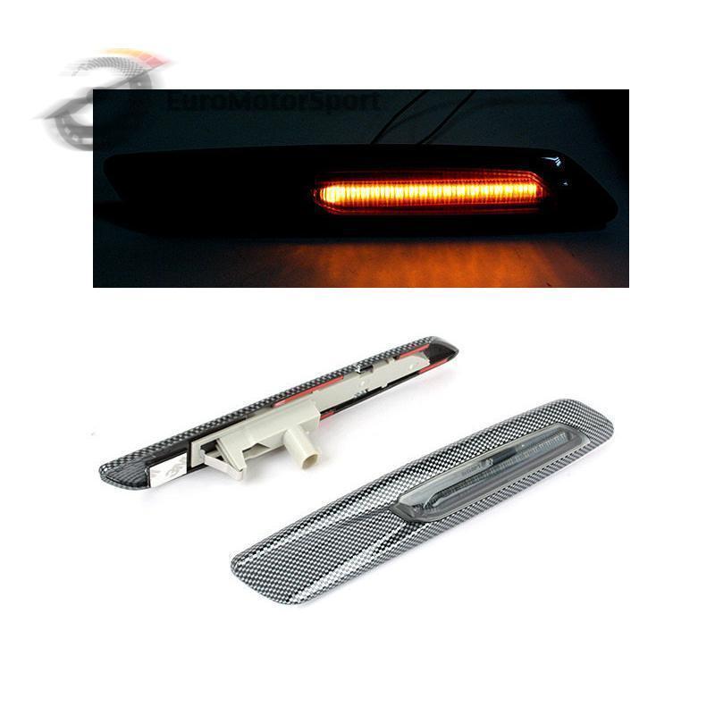 CYAN SOIL BAY Smoke Amber Led Side Marker Light F10 Style Carbon Look For BMW E81 E90 E60 цена и фото