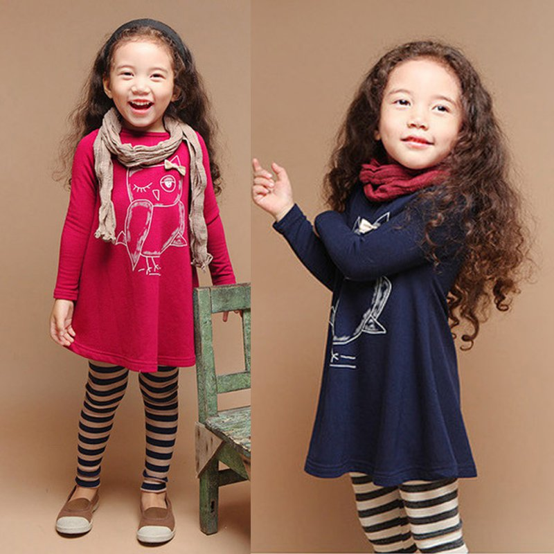 New-Spring-Dress-Fashion-Girl-Long-Sleeves-Cotton-Baby-Casual-Dress-Girls-Cartoon-Owl-Baby-Clothes-3