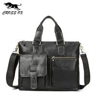 CROSS OX Hot 2018 Spring Genuine Wax Leather Men's Satchel Handbags For Men Shoulder Bags Briefcase 15' Laptop Bag HB563M