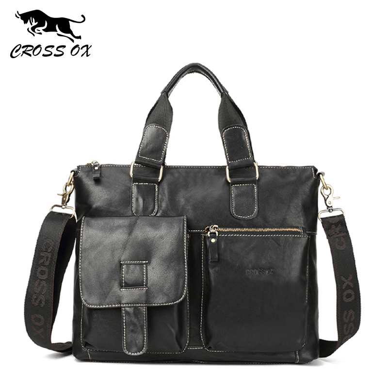 CROSS OX Hot 2018 Spring Genuine Wax Leather Men's Satchel Handbags For Men Shoulder Bags Briefcase 15' Laptop Bag HB563M