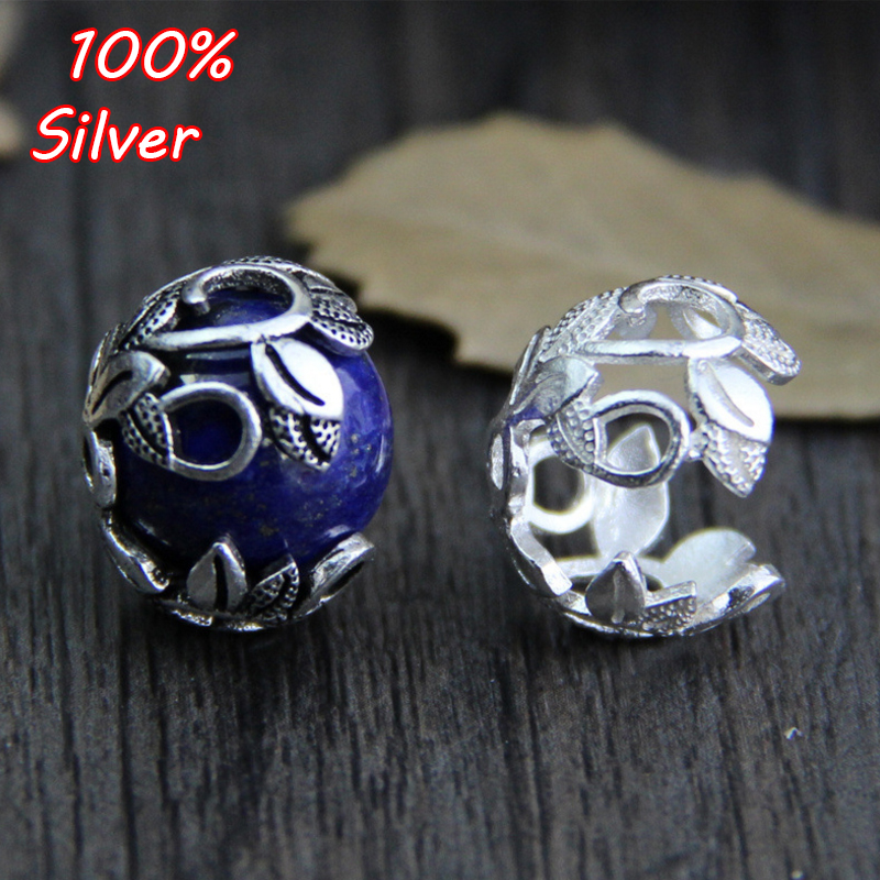 925 Sterling Silver Bracelet Necklace Flower Beads Cap Spacer For DIY Jewelry Making Findings Bead Bracelets  Accessories