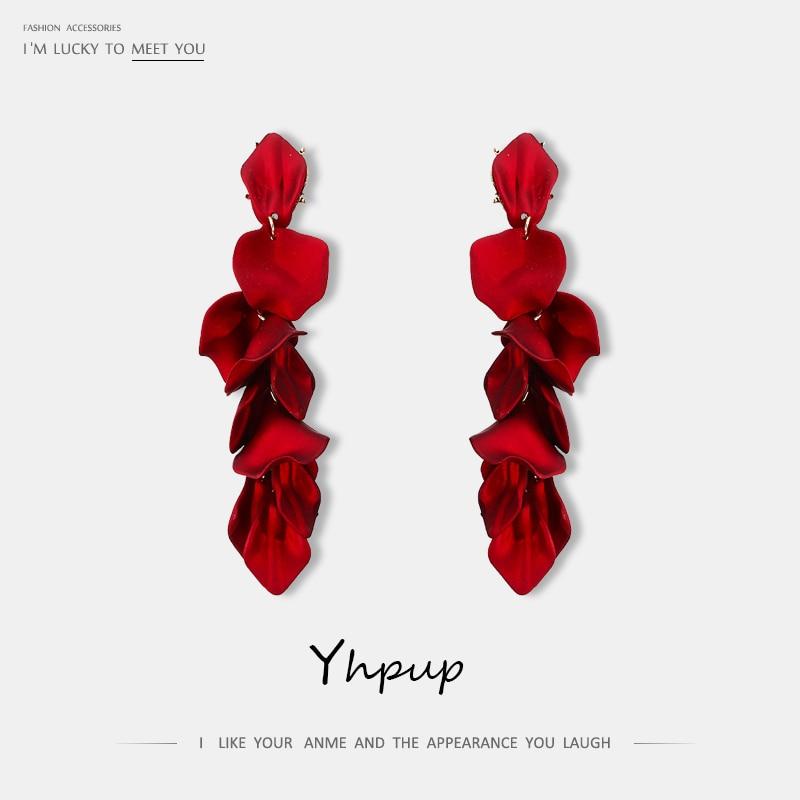 31ce538b699e Yhpup nueva marca de moda acrílico mucho pétalo pendientes exquisita alta calidad  pendientes para mujer fiesta joyería de la boda