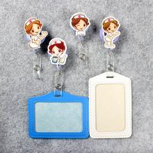 Beautiful Nurse Badge Scroll Girl Reel Cute Scalable Exhibition Hospital Wome Entrance Guard Card ID  Holder