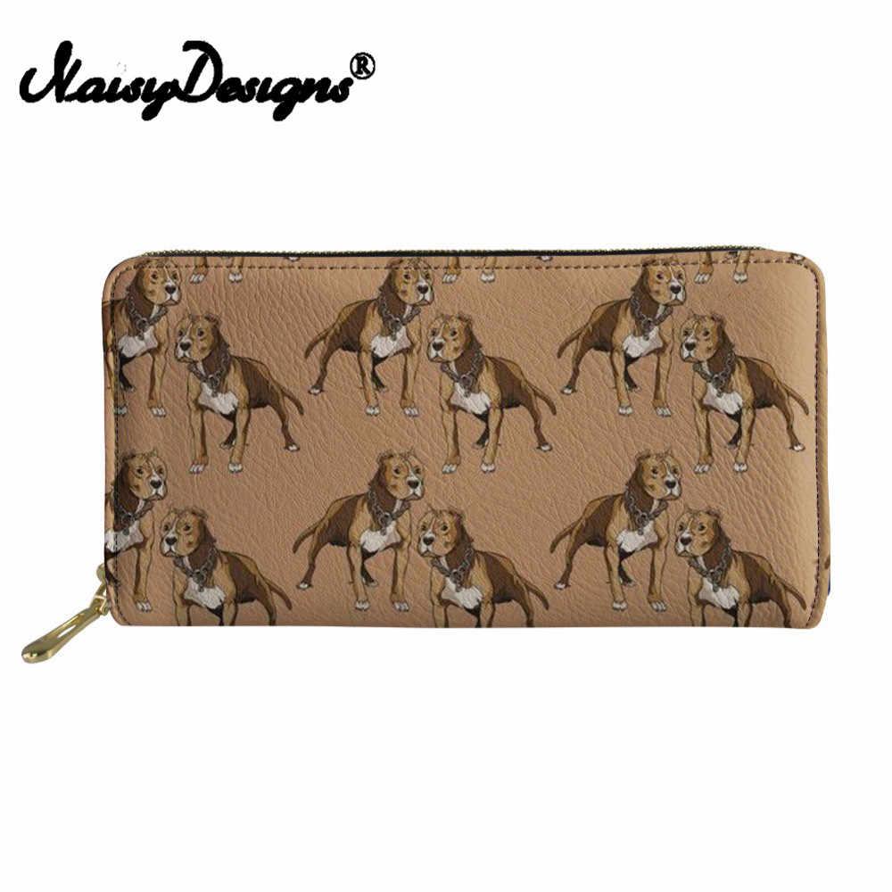 Noisydesigns Women purses canta Wallets Females  Long Purse PU Leather Cash Holder Females Pitbull Lover Printing Change Pocket