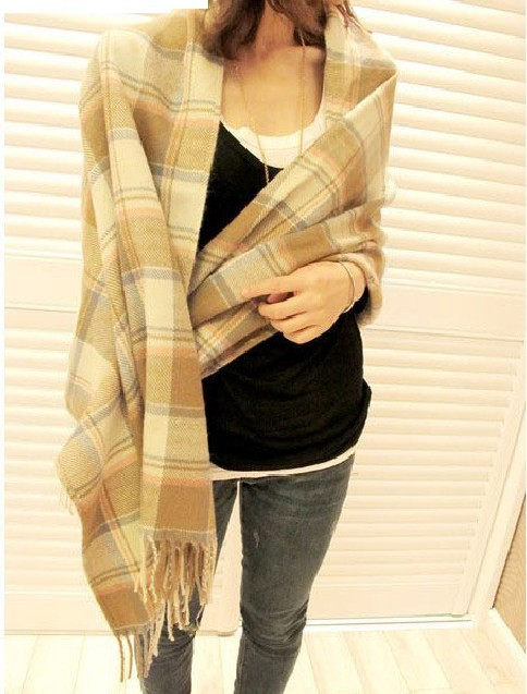 Free Shipping Autumn and Winter Women's Yarn Muffler Scarf Cape multi-use Ultra Long Plaid Scarf  warm scarf cream-colored  grid