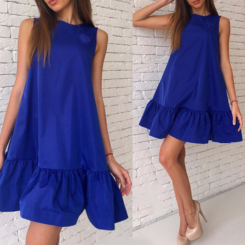 Naiveroo Women Summer Mini Dress Ruffle Casual Cocktail Party Fashion  Sleeveless Sexy Beach Solid Loose Plus Size Dresses 2X-in Dresses from  Women s ... 525d524a6468