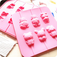 2015 New Cartoon Bear Rabbit Lollipops Silicone Fondant Cake Molds Soap Chocolate Mould For The Kkitchen Baking Tools CL074