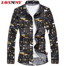 LONMMY PLUS SIZE 6XL 7XL Guitar mens shirts casual slim fit Long sleeve Mens dress hawaiian men clothes 2018