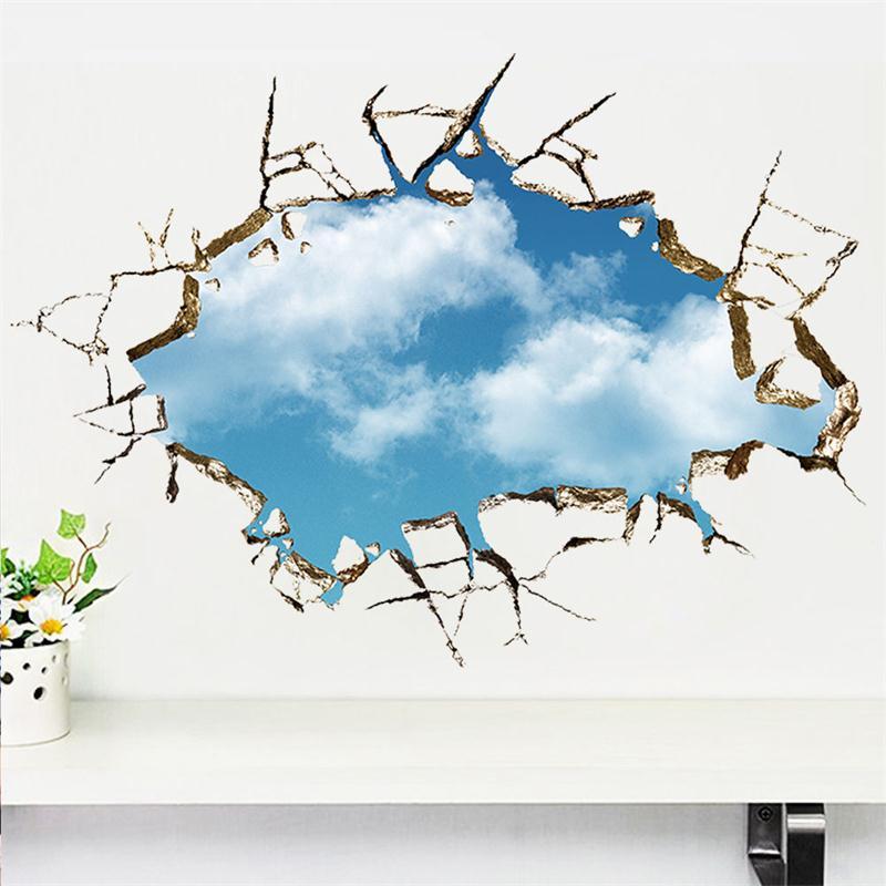 3d crack broken wall view blue sky wall decals pvc mural wall