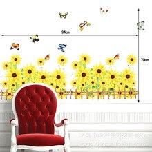 Free Shipping Yellow Sunflower Skirting Line Hallway Stairs Corridor Skirting Line Wall Stickers