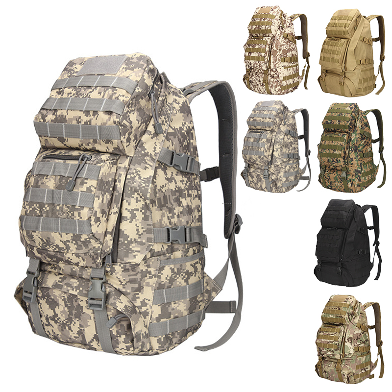 Outdoor High Capacity Hiking Backpack MOLLE Mountaineering Military Camo Bags 800D Camping Canvas Travel Men Rucksack 60l outdoor military tactical backpack large capacity camping bags mountaineering bag men s hiking rucksack travel backpack