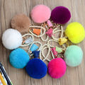 Fashion colors Rabbit Fur Keychain Ball PomPom Cell Phone Car Keychain Pendant Handbag  Metal Charm Key Ring free shipping