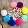 Fashion colors Rabbit Fur Keychain Ball PomPom Cell Phone Car Keychain Pendant Handbag  Metal Charm Key Ring free shipping
