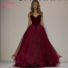 Vestido longo A Line Abendkleider Organza Burgund abendkleider lange graduation dresses importierte kleid formal Wear Z352