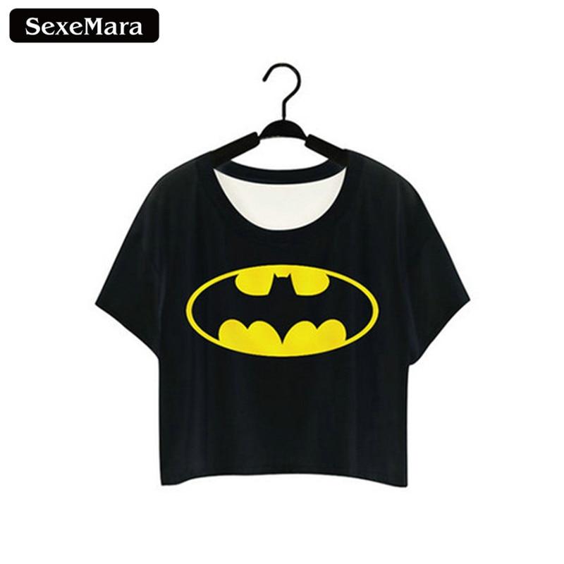 SexeMara A Sign Of A Super Hero Printed Partten T shirts Fashion Short Sleeve Dew Navel Crop Tops Sexy T-shirt Women Tops F973