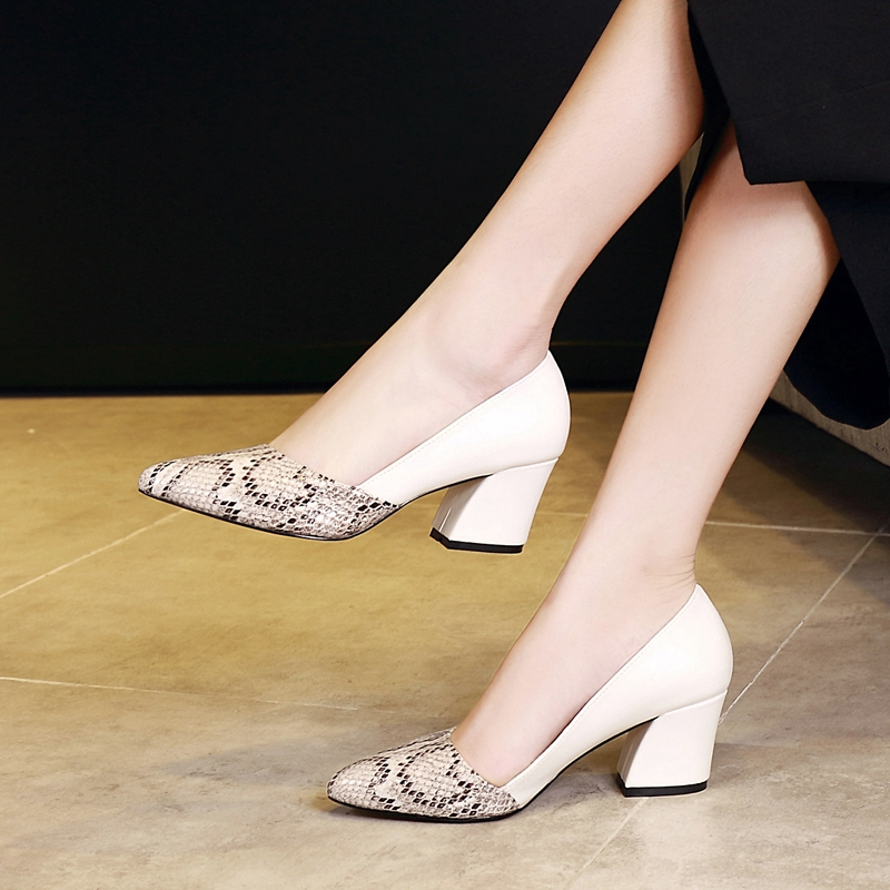 New Fashion Snake Print Women's Leather High Heels Heel Shoes Sexy Party Party Wedding Shoes Professional Shoes 301GGX
