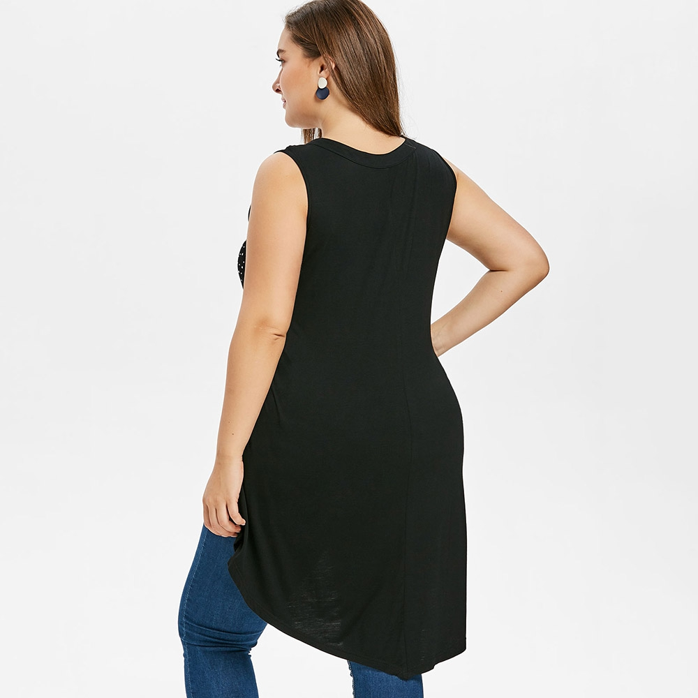 5XL Plus Size Lattice Front High Low Tank Top O-neck Long Sleeveless Dotted T-shirt Summer Women Black Top Lady Tank Lace Shirt