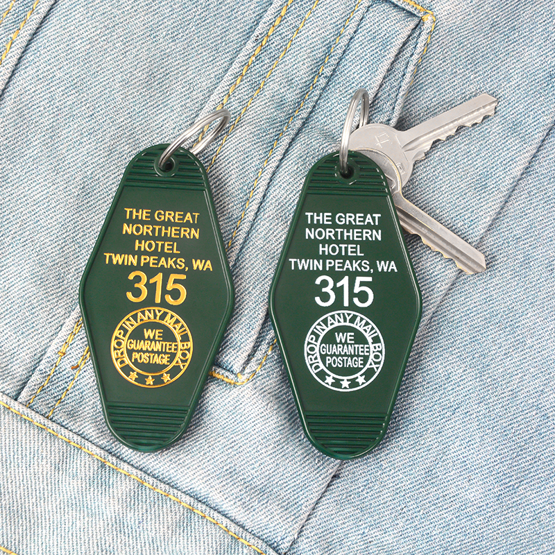 TV show Twin Peaks Keychain Green Prismatic Acrylic Keychain Key chain The Great Northern Hotel Room # 315 Gift for TV show fans 3