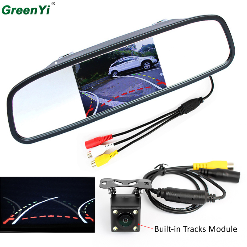 HD CCD Intelligent Car Parking Camera With Backing Trajectory Rear Camera+4.3 Inch Car Rearview Mirror Parking Monitor 3in1 car video reversing radar parking sensor with intelligent trajectory rear view camera and hd 4 3 car mirror monitor