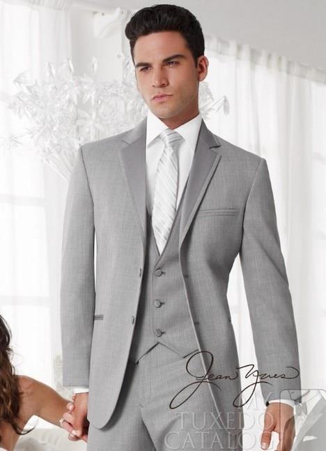 custom made cinza homens terno feito sob medida do noivo