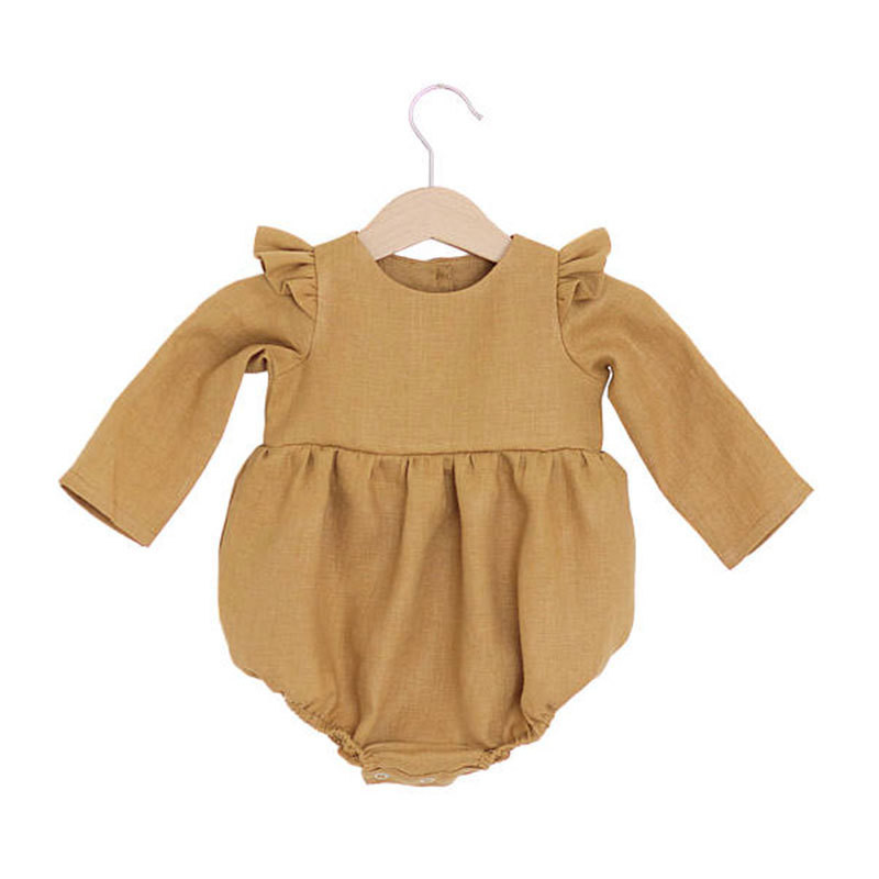 Baby Girls Clothes Newborn Baby Linen Cotton Jumpsuit Long Sleeve Kids Girls Ruffle   Rompers   Baby Body Suits D1288