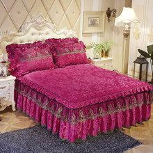 Lace Bed skirts Princess Bedspread Mattress Cover 1/3pcs Velvet Thick Warm Bedding Bed Sheet Pillowcases Solid Color Bed cover(China)