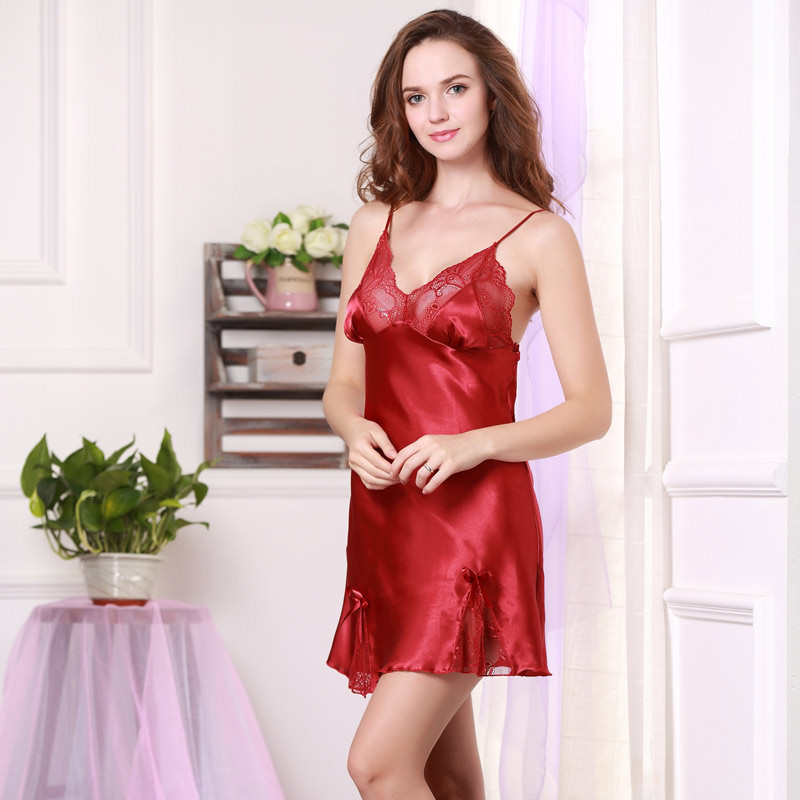 2015 Women Sexy Silk Satin Nightgown Sleeveless Night Dress Lace Nighties V-neck Night Shirt Above Knee Sleepshirt Sleepwear