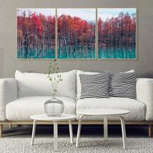 Laeacco Canvas Painting Calligraphy Nordic Home Living Room Wall Decor Pictures Outside Wall Artwork Forest Posters and Prints