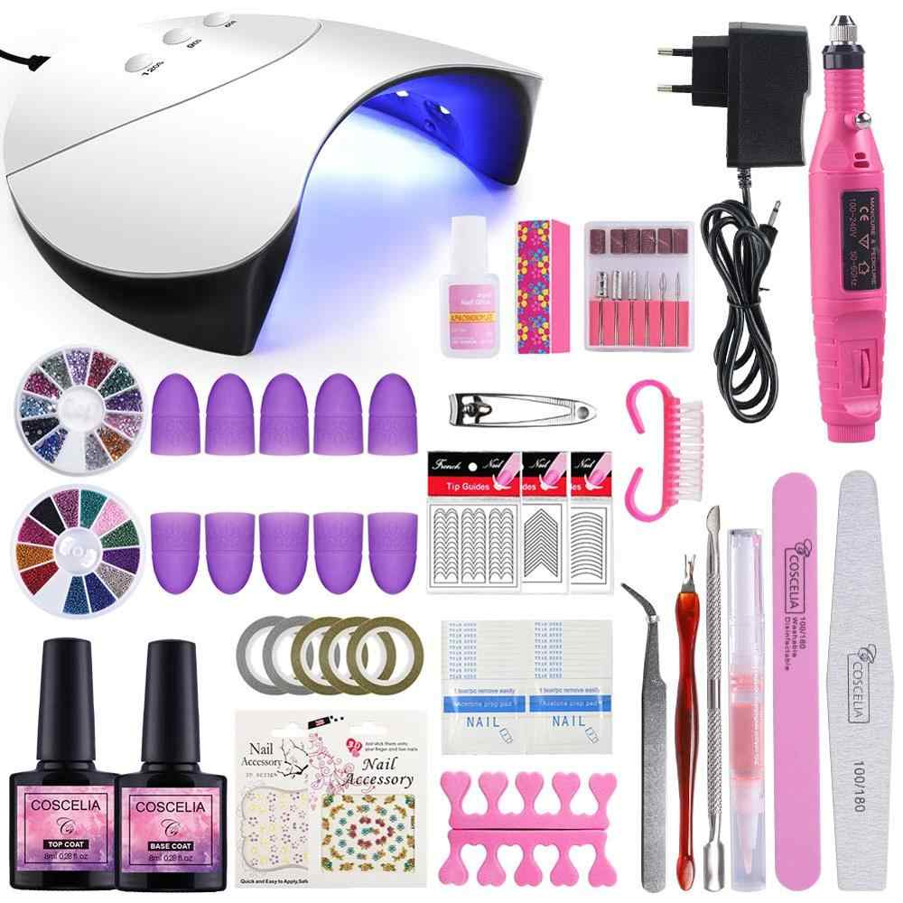 Kit de vernis à ongles lampe à LED UV sans Gel Kit de vernis à ongles Gel de manucure ensemble d'outils de manucure Kit de vernis à ongles Gel pour outils d'art des ongles