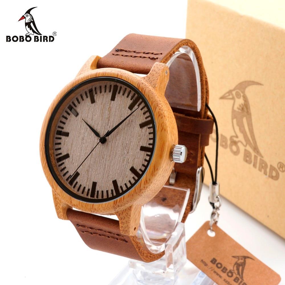 Бобо птица A16 часы для мужчин и женщин Древесины Бамбука кварцевые часы со шкалой мягкие кожаные ремни Relojes Mujer Marca de Lujo 2017