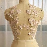 1 pair Grande fiore del ricamo di applique patch sew on pacthes tessuto di pizzo motif copre la decorazione fai da te cucito forniture