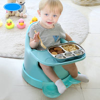 soft portable baby feed chair, gift pillow and rope, 4 wheels Baby Booster Seat, light baby feed chair
