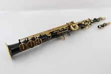 Factory Made YSS-875B the straight soprano saxophone Black Nickel Gold carved pattern black saxophone gold key with mouthpiece