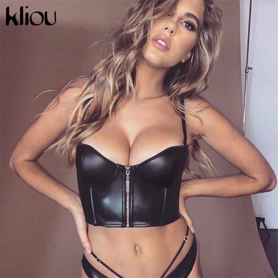Kliou 2019 new arrival women sexy PU leather crop top camisole front zipper fly strapless black patchwork sexy party club tees