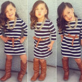 2015 Girl Striped Long sleeved Dress Casual For 2--8 Years children dress Free Shipping