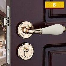Moden мода Сплит механический замок межкомнатной двери золотой ванная комната спальня кухня твердая деревянная дверь керамические ручки замки