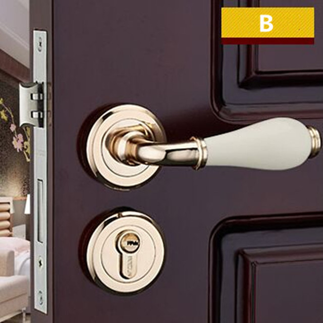 Moden Fashion Split Mechanical Interior Door Lock Golden Bathroom Bedroom Kitchen Solid Wood Ceramic Handle Locks