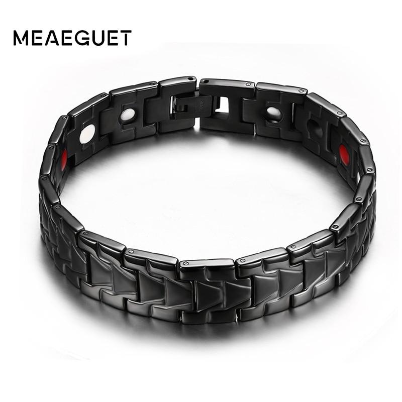 Meaeguet Cool Black Health Bio Magnetic Bracelets For Men Germanium Far infrared Bracelets & Bangles Stainless Steel Jewelry stainless steel pressure reduction magnetic bracelets bangles black blue