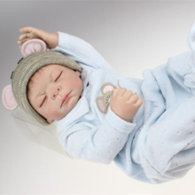 20 inch Reborn Baby Doll Realastic Boy Baby Dolls Full Soft Vinyl Lifelike Kids Toys In Soft Blue Baby Clothes