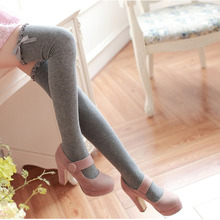 spring girl women sexy stockings lacework border cotton bowknot over knees white grey lolita thick long