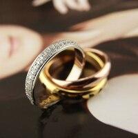 Chất lượng cao Titanium Steel Tình Yêu Nhẫn Phụ Nữ Đàn Ông ba pha trộn màu Da Báo full stones wedding ring Pulseira feminina đồ trang sức