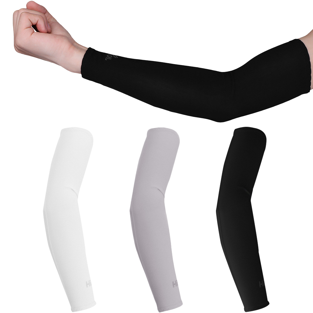 running - 2Pcs Arm Sleeve Warmers Safety Sleeve Sun UV Protection Sleeves Arm Cover Cooling Warmer Running Golf Cycling Long Arm Sleeve