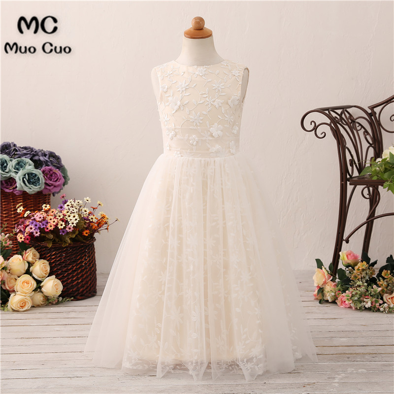 New 2018 Lace   Flower     Girl     Dresses   For Weddings Sleeveless First Communion   Dresses   For   Girls   Pageant   Dresses   White Ivory