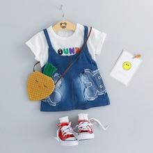 купить 2019 Summer Baby  Girls Short Clothing Sets Infant Toddler Clothes Suits Cartoon T Shirt  Dress  Kids Children Casual Suit по цене 545.13 рублей